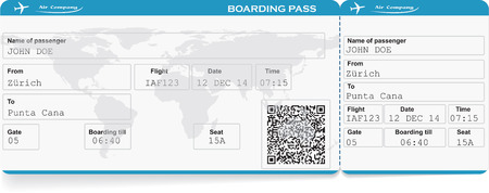passenger plane: Pattern of airline boarding pass ticket with QR2 code. Isolated on white. Vector illustration