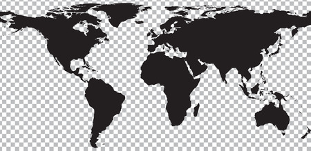 sur: El mapa negro del mundo en el fondo transparente. Ilustración vectorial