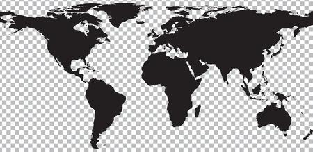 Zwarte kaart van de wereld op transparante achtergrond. Vector illustratie