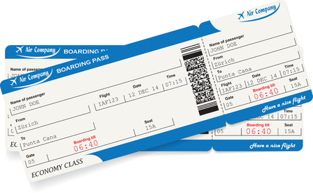 airline: Pattern of two airline boarding pass tickets in blue color. Travel or journey concept. Isolated on white. Vector illustration