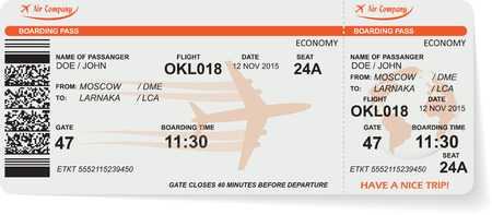 aeroplane: Pattern of airline boarding pass ticket with QR2 code. Concept of travel, journey or business. Isolated on white. Vector illustration