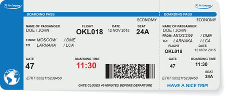 boarding card: Pattern of airline boarding pass ticket with QR2 code. Concept of travel, journey or business. Isolated on white. Vector illustration