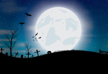 Halloween background with pumkin, bats and big moon. Vector illustration Vectores