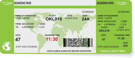 planes: Pattern of airline boarding pass ticket with QR2 code. Concept of travel, journey or business. Isolated on white. Vector illustration