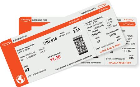 Modello di imbarco aereo passa biglietto con codice QR2. Concetto di viaggio, viaggio o per affari. Isolati su bianco. Illustrazione vettoriale