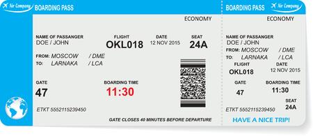 Muster der Fluggesellschaft Bordkarte Ticket mit QR2-Code. Konzept der Reise, Reise oder Business. Isoliert auf weiß. Vektor-Illustration Standard-Bild - 47668812