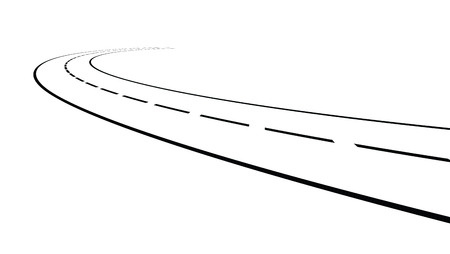 diminishing point: Vector illustration of outline of perspective of curved road Illustration