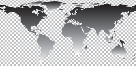 Black map of world on transparent background. Vector illustration Vectores