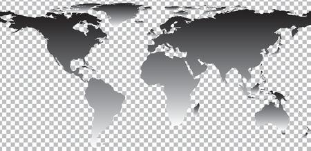 Nero mappa del mondo su sfondo trasparente. Illustrazione vettoriale Archivio Fotografico - 48965243