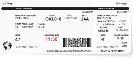 airplane ticket: Pattern of airline boarding pass ticket with QR2 code. Concept of travel, journey or business. Isolated on white.  Illustration