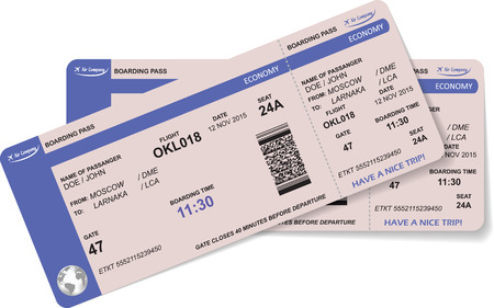 airline: Pattern of airline boarding pass ticket with QR2 code. Concept of travel, journey or business. Isolated on white. Illustration