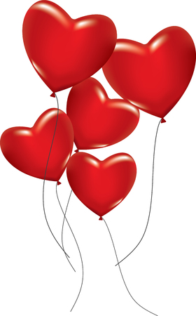 Five red hearts as ballons on white background.