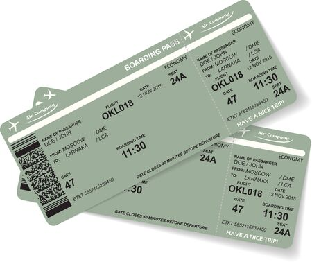 passenger airline: Pattern of two airline boarding pass ticket with QR2 code. Concept of travel, journey or business. Isolated on white. Vector illustration