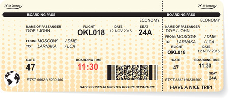 business travel: Pattern of airline boarding pass ticket with QR2 code. Concept of travel, journey or business. Isolated on white. Vector illustration