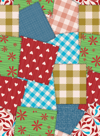 scraps: Seamless background pattern from scraps of fabric. Vector illustration