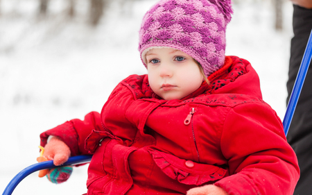 sledging people: Child girl with sled in a park