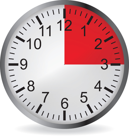 min: Clock with red 15 minute deadline. Isolated on white background. Vector illustration