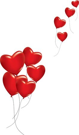 A lot of red hearts as ballons on white background. Vector illustration Vectores
