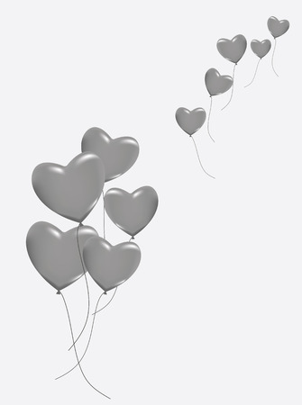 balloon background: A lot of hearts as ballons in gray colors. Vector illustration