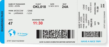 aereo: Modello di imbarco aereo passa biglietto con codice QR2. Concetto di viaggio, viaggio o per affari. Isolati su bianco. Illustrazione vettoriale