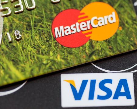 mastercard: RUSSIAN FEDERATION, OREL - 08 FEB 2016: Two credit cards: Visa and Mastercard