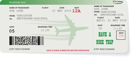 flucht: Muster der Fluggesellschaft Bordkarte Ticket mit QR2-Code. Konzept der Reise, Reise oder Business. Isoliert auf weiß. Vektor-Illustration