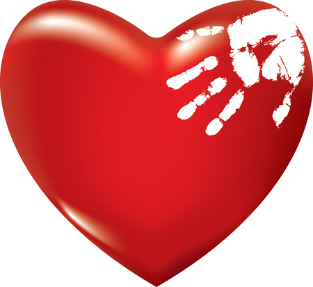 Red heart with white hand print. Vector illustration