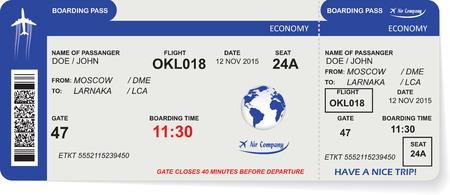 путешествие: Структура авиакомпании посадочный талон билет с QR2 кода. Концепция путешествия, путешествия или деловой. Изолированные на белом фоне. Векторная иллюстрация