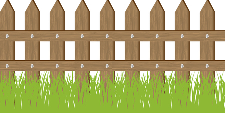landscaped garden: Vector seamless illustration of grass and fence