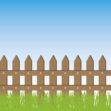 landscaped garden: Vector seamless illustration of grass and fence. Blue sky as background Illustration
