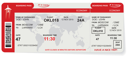airplane ticket: Pattern of airline boarding pass ticket with QR2 code. Concept of travel, journey or business. Isolated on white. Vector illustration
