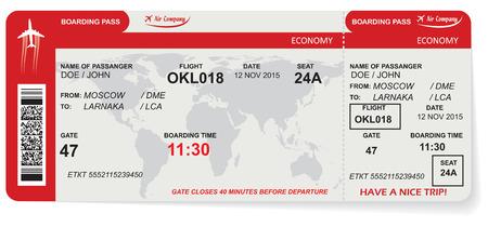 Wzór linii lotniczych pokładowej bilet z kodem QR2. Pojęcie podróży, podróży lub firmy. Pojedynczo na białym. Ilustracji wektorowych Ilustracje wektorowe