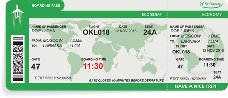 Darstellung der Muster der Pass-Ticket Fluggesellschaft Bord. Konzept der Reise, Reise oder im Geschäft. Isoliert auf weiß.