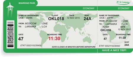 illustrazione del modello di biglietto d'imbarco aereo. Concetto di viaggio, viaggio o di lavoro. Isolati su bianco.