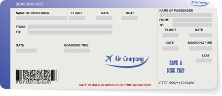 illustration of pattern of airline boarding pass ticket. Concept of travel, journey or business. Isolated on white.