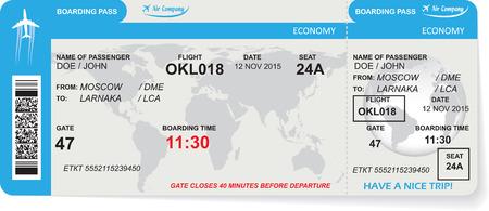 Patroon van airline boarding pass ticket met QR2 code. Concept van de reis, een reis of het bedrijfsleven. Geïsoleerd op wit. illustratie