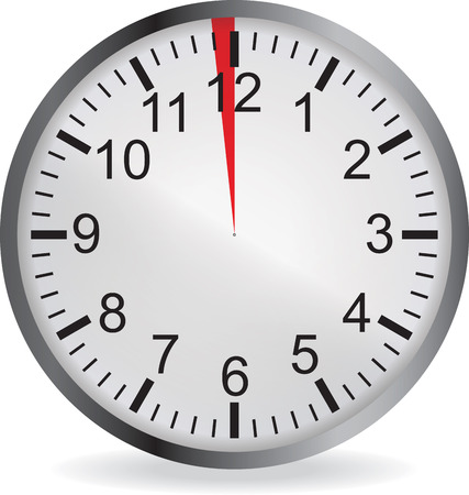 metering: Clock with red 1 minute deadline. Isolated on white background. illustration