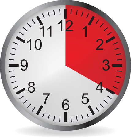 Clock with red 20 minute deadline. Isolated on white background. illustration