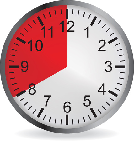 20: Clock with red 20 minute deadline. Isolated on white background. illustration