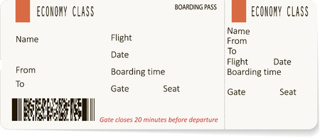 airplane ticket: illustration of pattern of a boarding pass. Concept of travel, journey or business trip