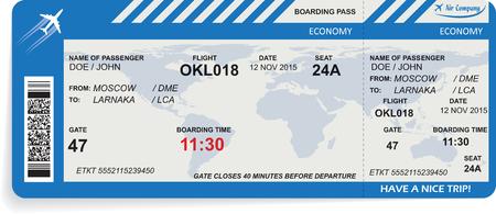 illustrazione del modello di biglietto d'imbarco aereo. Concetto di viaggio, viaggio o di lavoro. Isolati su bianco. illustrazione