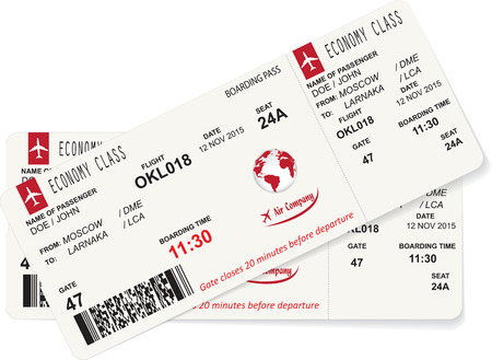 passenger airline: Vector illustration of pattern of a boarding pass. Concept of travel, journey or business trip