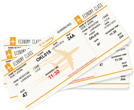 business class travel: Vector illustration of pattern of three boarding passes. Concept of travel, journey or business trip