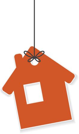 rope vector: Icon of house hanging on a rope. Vector illustration Illustration