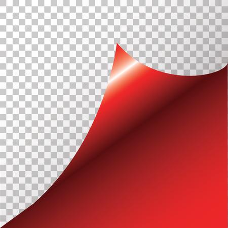curled corner: Red sticker with curled corner. illustration