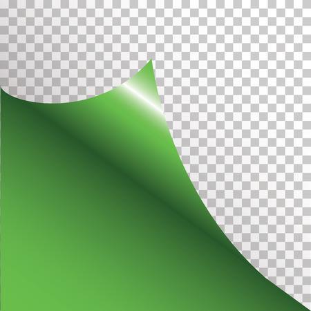 curled: Green sticker with curled corner. illustration Illustration