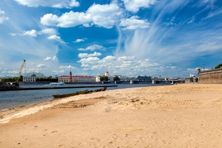 neva: Panoramic view on Neva river and Exchange in Saint Petersburg Stock Photo