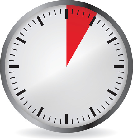 Clock with red 5 minute deadline. Isolated on white background. Vector illustration