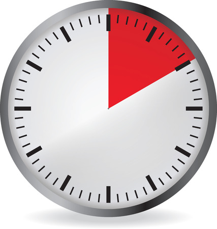 min: Clock with red 10 minute deadline. Isolated on white background. Vector illustration