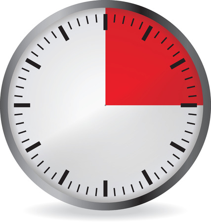 metering: Clock with red 15 minute deadline. Isolated on white background. Vector illustration